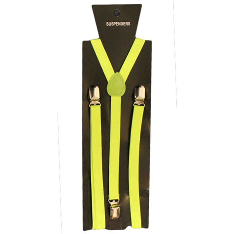 Neon Yellow Braces Plain 1.5cm Wide & Heavy Duty Suspenders Adjustable Unisex Trousers