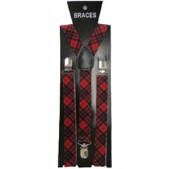 Red Tartan Braces 2.5cm Wide & Heavy Duty Suspenders Adjustable Unisex Trousers