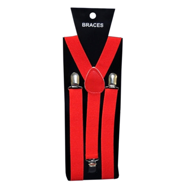 Red Braces Plain 2.5cm Wide & Heavy Duty Suspenders Adjustable Unisex Trousers
