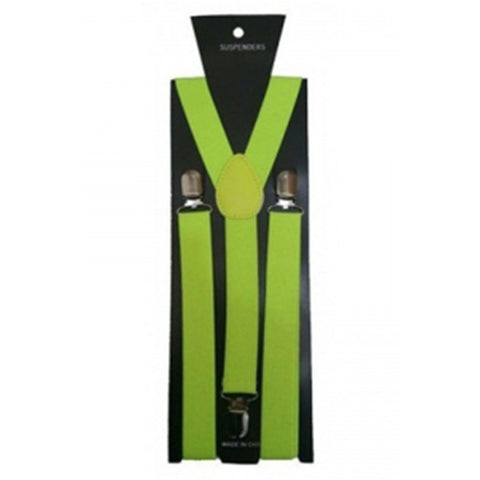 Neon Yellow Braces Plain 2.5cm Wide & Heavy Duty Suspenders Adjustable Unisex Trousers