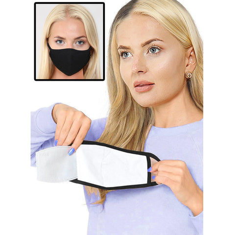 Breathable Reusable Black Cotton Face Mask With Filter Pocket