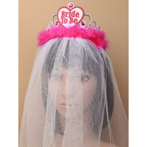 Ladies Bride To Be Tiara With White Veil Hen Party Accessory