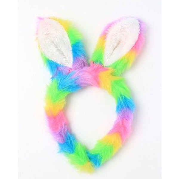 Bunny Rabbit Ears Rainbow Faux Fur Fabric Aliceband Headband