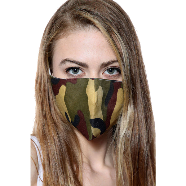 Camouflage Army Print Face Mask With Filter Pocket