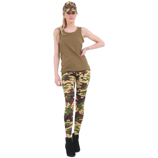 Womens Camouflage Army Printed Full Length Stretch Microfiber Trouser Legging