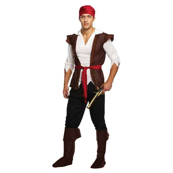 Adult Caribbean Pirate Fancy Dress Costume (One Size)