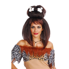 Women Cave Female Brown Hair Wig Costume Horror Fancy Dress Party Accessory