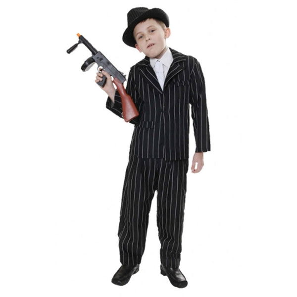 Children Gangster Black Costume Kids Fancy Dress Book Week Outfit
