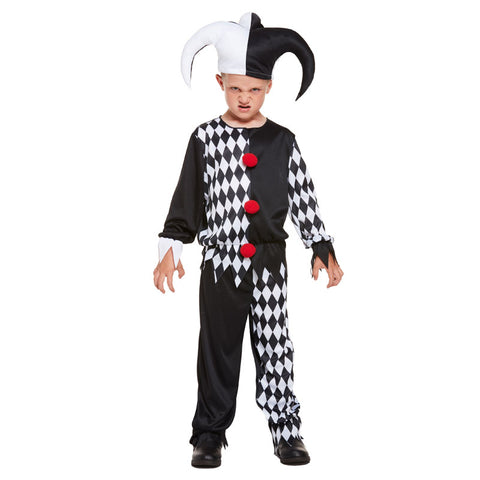 Child Jester Evil Costume Kids Fancy Dress Book Week Outfit