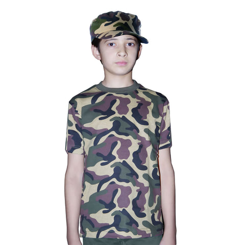 Children's Army T-Shirt Camouflage Kids Fancy Dress