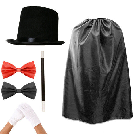 Child's Magician Fancy Dress Costume Hat Bow Tie Cape Magician Outfit