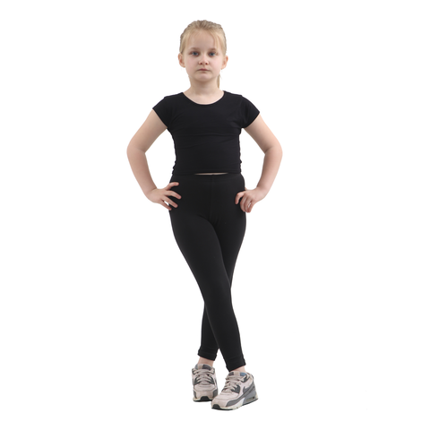 Children Black Cotton Leggings Full Length
