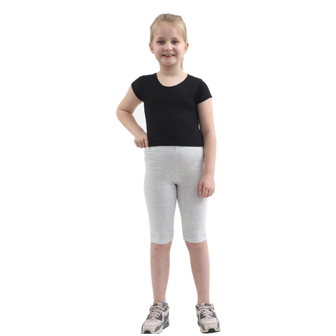 Children Light Grey Cotton Leggings 3/4 Length
