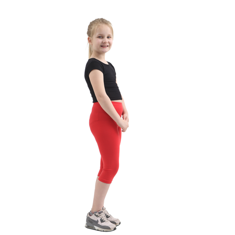 Children Red Cotton Leggings 3/4 Length