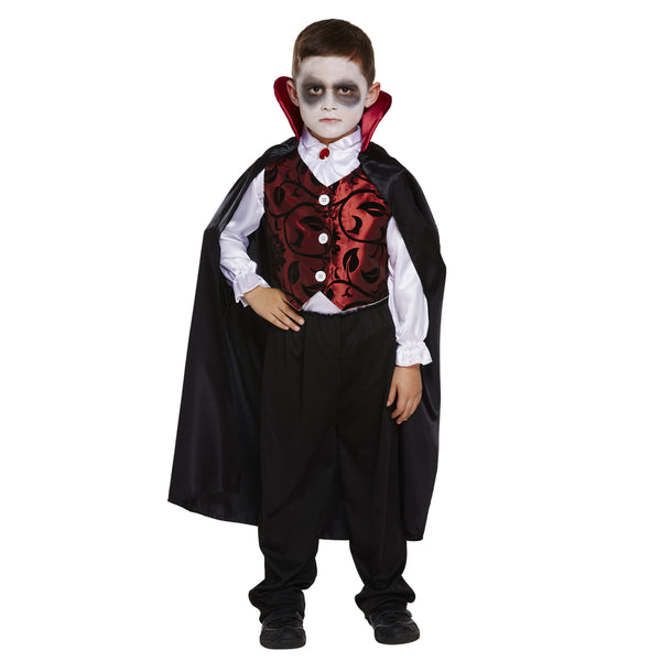 Boys Deluxe Vampire Dracula Costume Halloween Fancy Dress Outfit