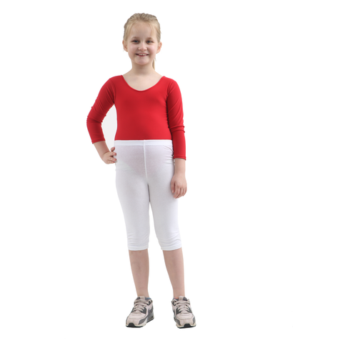Children White Cotton Leggings 3/4 Length