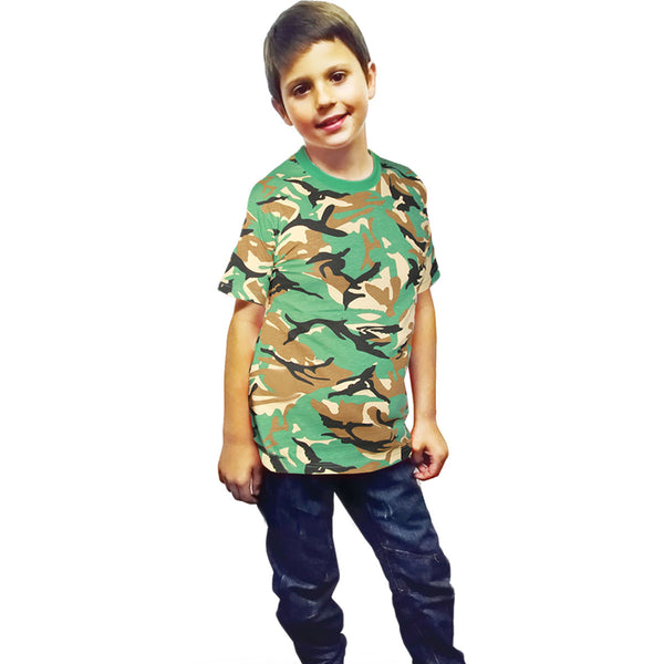 Children Camouflage Green T-Shirt Army Military Fancy Dress