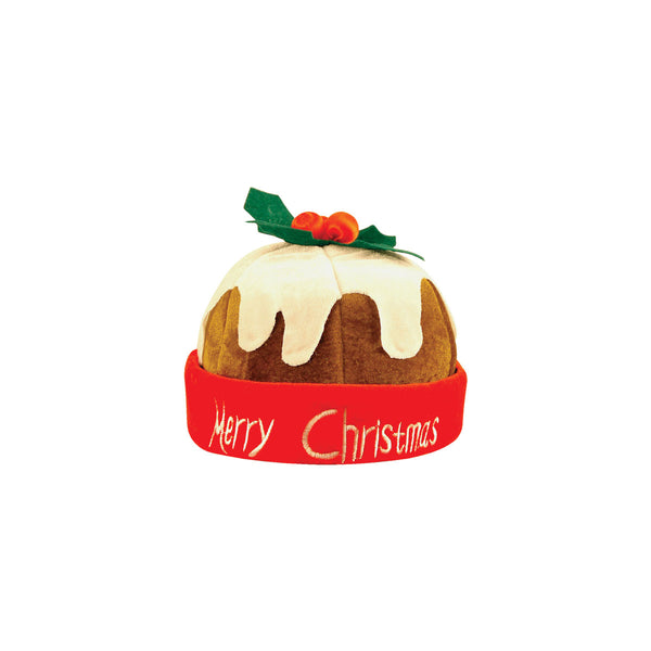 Adult Unisex Pudding Hat with Holly Christmas Fancy Dress Accessory Headwear