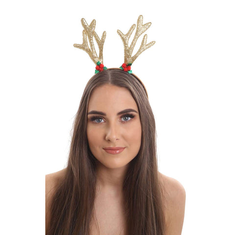 Christmas Gold Glitter Reindeer Antlers With Holly Motif Xmas Headband