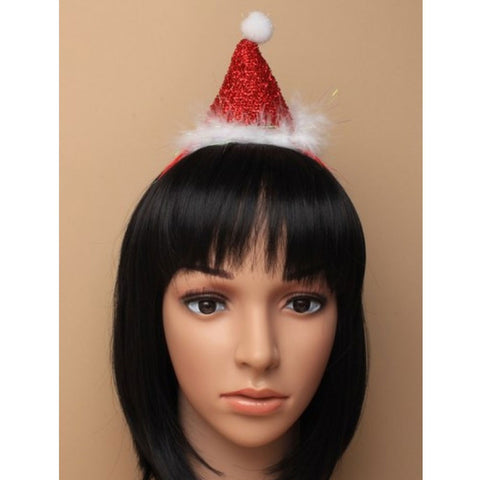 Christmas Metallic Red Santa Hat Aliceband With White Fur Trim And Pom Pom