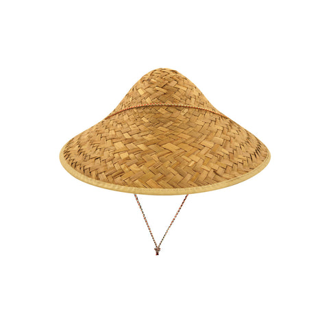 Adults Coolie Straw Hat With Edge Binding Mens Stag Party Fancy Dress Accessory