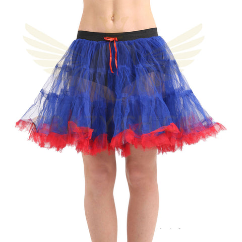 Crazy Chick 2 Layer Blue and Red Dance Ruffle Edged TUTU Skirt Women Fancy Dress