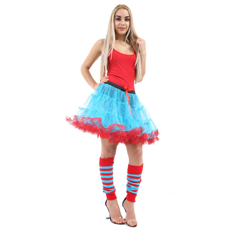 Crazy Chick Red Blue 2 Layer Dance Ruffle Edged TUTU 18 Inches Skirt