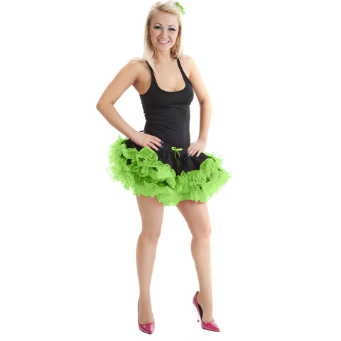 Crazy Chick 2 Layers Black Green Short Ruffle TuTu Skirt Fancy Dress