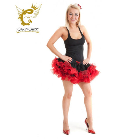 Crazy Chick 2 Layers Black Red Short Ruffle Vampire TuTu Skirt Fancy Dress