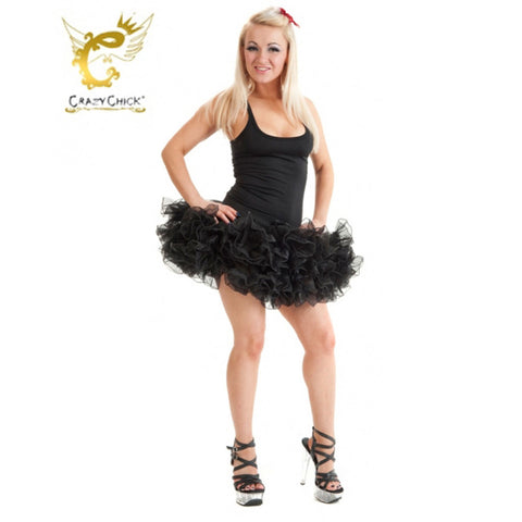 Crazy Chick 2 Layers Black Short Ruffle TuTu Skirt Fancy Dress
