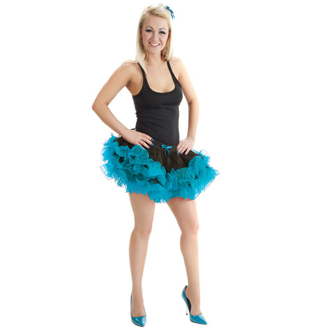 Crazy Chick 2 Layers Black Turquoise Short Ruffle TuTu Skirt Fancy Dress