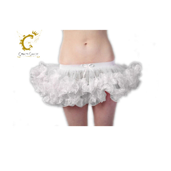Crazy Chick 2 Layers Short Ruffle White Angel TuTu Skirt Fancy Dress