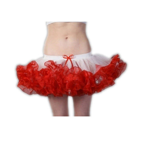 Crazy Chick 2 Layers White Red Short Ruffle TuTu Skirt Fancy Dress