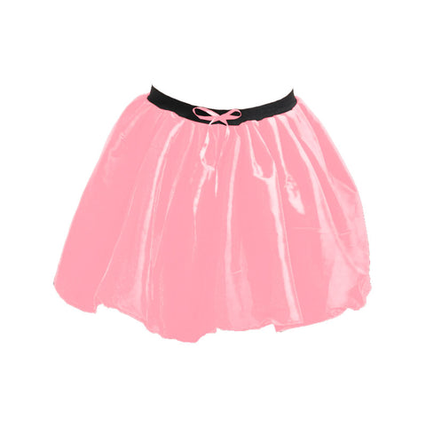 Women Crazy Chick 3 Layers Satin Baby Pink Ribbon TuTu Skirt