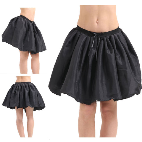 Women Crazy Chick 3 Layers Black Satin Ribbon TuTu Skirt