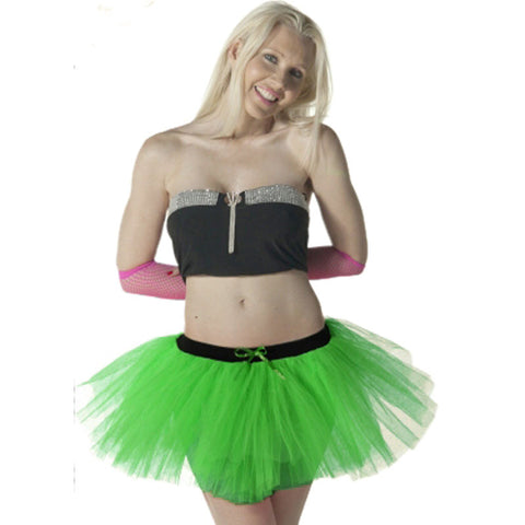 3 Layers Crazy Chick Women Plain Green Short TuTu Skirt