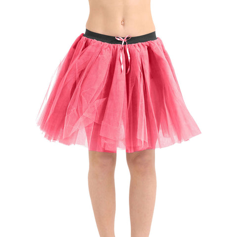 Crazy Chick Women 3 Layers Pink Ribbon TuTu Skirt