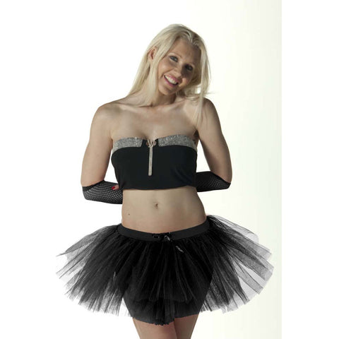 3 Layers Crazy Chick Women Plain Black Short Angel TuTu Skirt