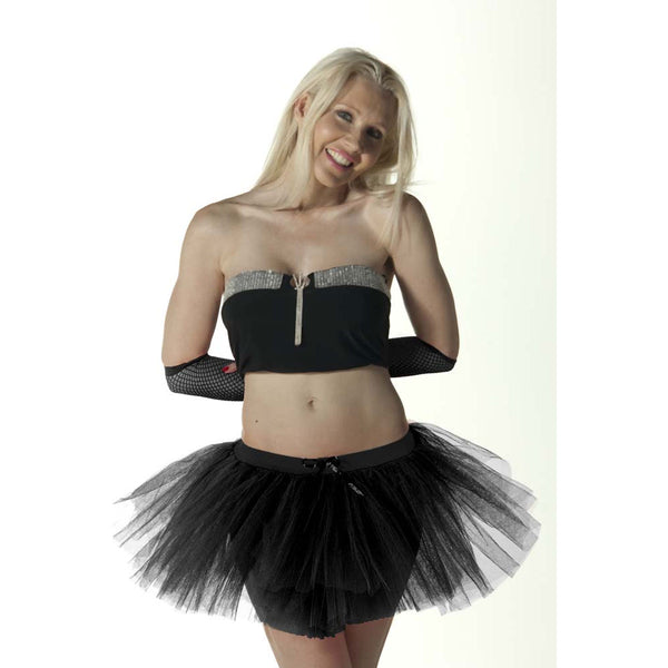 3 Layers Crazy Chick Women Plain Black Short TuTu Skirt