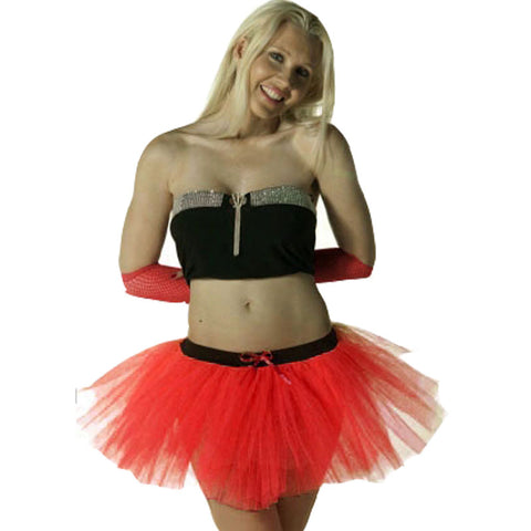 3 Layers Crazy Chick Women Plain Red Short TuTu Skirt