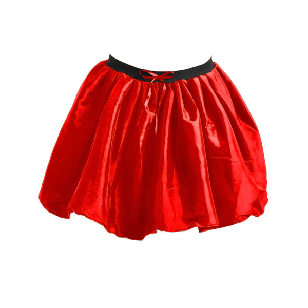 Women Crazy Chick 3 Layers Red Satin Ribbon TuTu Skirt