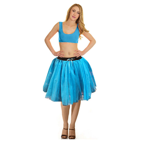 Women Crazy Chick 3 Layers Turquoise Ribbon TuTu Skirt