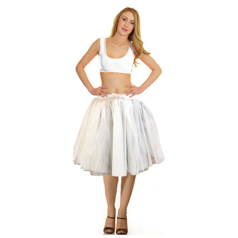 Women Crazy Chick 3 Layers White Ribbon Angel TuTu Skirt