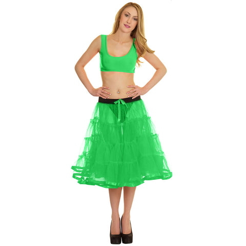 Women Crazy Chick 4 Tier Petticoat with Green Ribbon TuTu Skirt