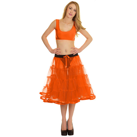 Women Crazy Chick 4 Tier Petticoat with Orange Ribbon TuTu Skirt