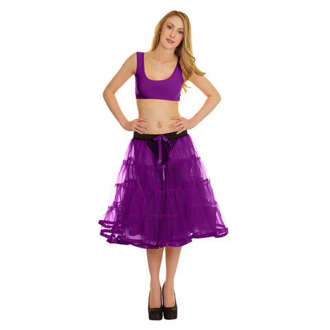 Women Crazy Chick 4 Tier Petticoat with Purple Ribbon TuTu Skirt