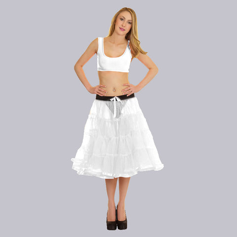 Women Crazy Chick 4 Tier Petticoat with White Ribbon TuTu Skirt
