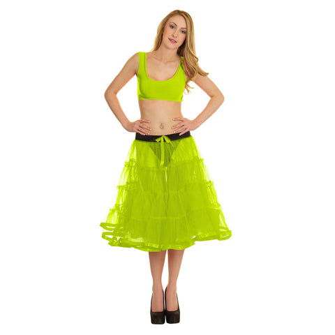 Women Crazy Chick 4 Tier Petticoat with Yellow Ribbon TuTu Skirt