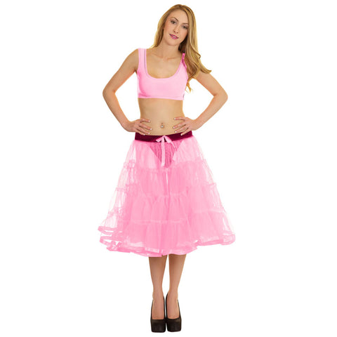 Women Crazy Chick 4 Tier Petticoat with Baby Pink Ribbon TuTu Skirt