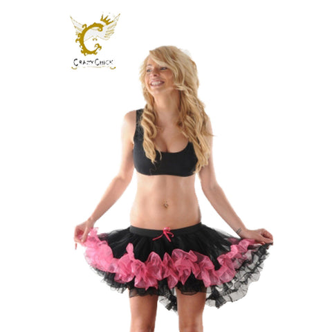 Crazy Chick Black Pink Burlesque Ruffle TuTu Skirt Fancy Dress